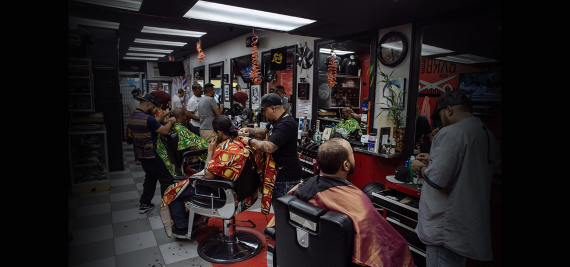 Corona barbershop Plus interior shop shot.