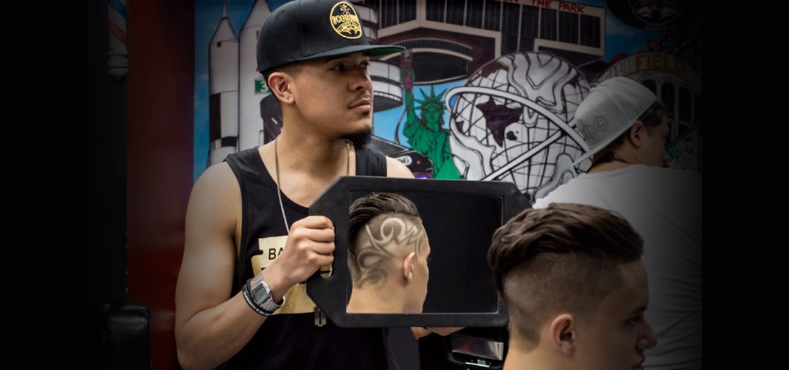 Haircut design final review with client